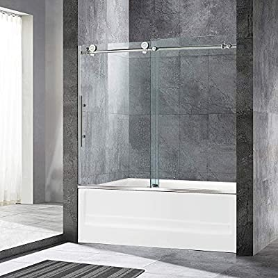 """WOODBRIDGE Frameless Sliding Bathtub Door, 56""""-60"""" Width, 62"""" Height, 3/8"""" (10 mm) Clear Tempered Glass, Brushed Nickel Finish, Designed for Smooth Door Closing and Opening. MBSDC6062-B4"""