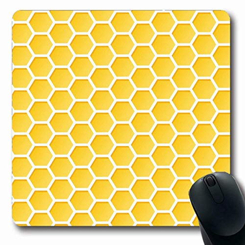 Jamron Mousepad OblongHoneycomb Hexagon Farbe Modernes Lebensmittelmuster Honig Abstrakte Texturen Natur Gelbe Kolonie Kandierte rutschfeste Gummimaus Pad Büro Computer Laptop Spiele Mat.-Nr.