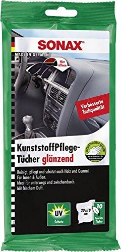 SONAX KunststoffPflegeTücher glänzend (10 Stück) Feuchte Tücher reinigen, pflegen und verleihen Glanz in einem Arbeitsgang | Art-Nr. 04151000