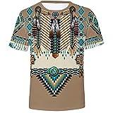 Camisetas de Hombre, Camisetas con Estampado étnico de impresión 3D Camisetas de Manga Corta con Cuello Redondo Camisetas Casuales Sueltas Camisas Deportivas Camisas