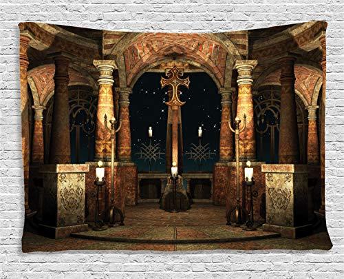 ABAKUHAUS Gótico Tapiz de Pared, Pilares De La Antigua Sala, para el Dormitorio Apto Lavadora y Secadora Estampado Digital, 200 x 150 cm, Marfil Marrón Negro