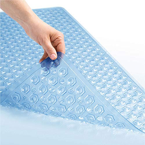 GORILLA GRIP Original Patented Bath, Shower Tub Mat, 35x16, Many Colors, Washable, Antibacterial, BPA, Latex, Phthalate Free, XL Size Bathroom Bathtub Mats, Drain Holes and Suction Cups, Blue
