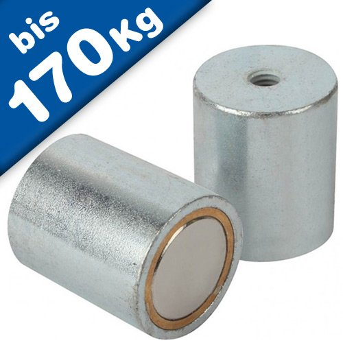Magnete di fermo cilindrico con foro filettato - Ø6 - 63mm - Neodimio (NdFeB) - Forza di attrazione fino a 170 kg - Magneti permanenti cilindrici al Neodimio (Terre Rare) - Calamite potenti, Grandezzas:Ø 20 | M6x9 | 13.5kg forza