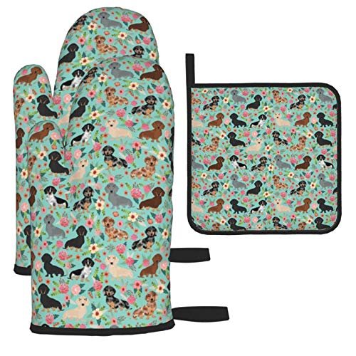 Oven Mitts and Pot Holders 3pcs Set,Doxie Dachshunds Florals Cute Dog Best Dog Double Oven Mitts with Cotton Lining and Non-Slip Surface for Cooking set Baking Grilling Barbecue Microwave Gauntlet