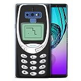 Stuff4 Coque Gel TPU de Coque pour Samsung Galaxy Note 9/N960 / Nokia 3310 Noir Design/Portables rétro Collection