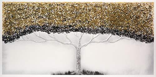 Cuadro Pintado Árbol de la Vida Dorado 140x70 cm 100% Original, con Piedras Brillantes y Reflejos Plata