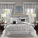 Madison Park Essentials Room in a Bag Steppdecken-Set aus Kunstseide, Diamant-Tuftung, für alle Jahreszeiten, entsprechende Gardinen, dekorative Kissen, Queen-Size-Bett (228,6 x 228,6 cm), Grau