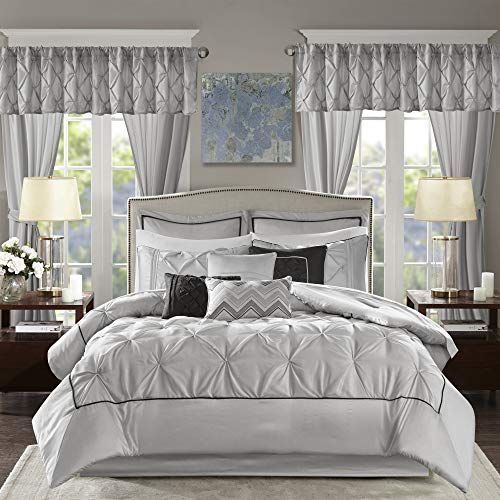 """Madison Park Essentials Room in a Bag Faux Silk Comforter Set-Luxe Diamond Tufting All Season Bedding, Matching Curtains, Decorative Pillows, King(104""""x92""""), Grey"""