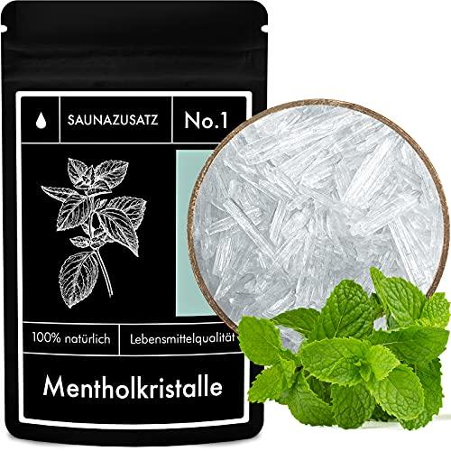 Mentholkristalle Sauna-Zusatz No. 1 – Menthol Sauna Kristalle – Zu 100% aus natürlicher japanscher Minze gewonnen – 50 g
