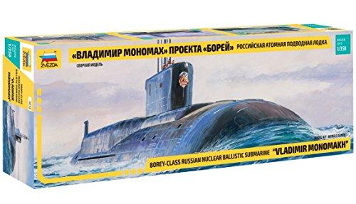 Zvezda 500789058 500789058-1:350 Borey Class Russ.Nuclear - Juego de construcción de maqueta de submarina de plástico para Principiantes, Color Gris