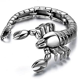 JewelryWe 2 PCS Collier Pendentif Scorpion pour Motard Biker en Acier Inoxydable Fantaisie pour Homme 2 Couleurs Argent et Or avec Sac Cadeau