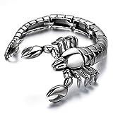 JewelryWe Gioielli Bracciale da Uomo Donna Acciaio Inox Large Scorpione Braccialetto 9 Pollici Colore Argento (con Regalo Borsa)