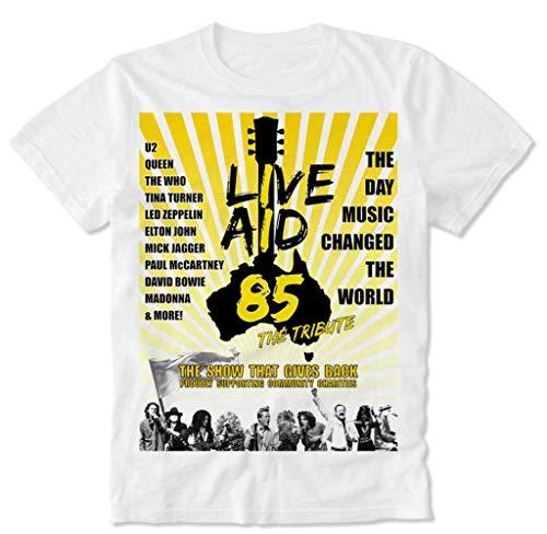 T-Shirt Live Aid Queen Freddie Mercury Bohemian The Who David Rhapsody Bowie Retro Vintage Poster '85 80s