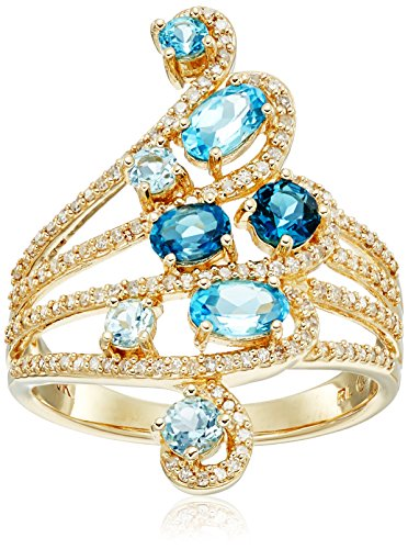 10k Yellow Gold Shades of Blue with Diamond Accent Multi-Rows Ring (1/4cttw, I-J Color, I2-I3 Clarity), Size 7