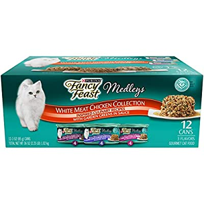 Purina Fancy Feast Wet Cat Food Variety Pack, Medleys White Meat Chicken in Sauce Collection - (12) 3 oz. Cans (58069)