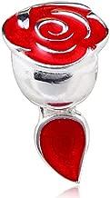 Rose Charm with Red Enamel 925 Sterling Silver Flower Charm Love Charm Valentine Charm for Pandora Bracelet (C)
