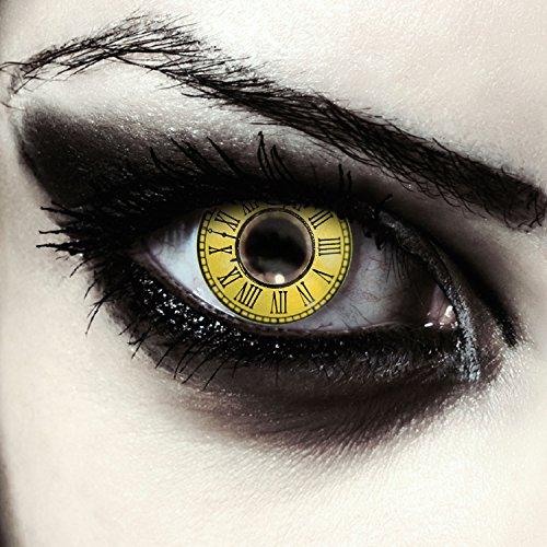 Lentillas de color amarillo con Patrón de relojes para Cosplay disfraz