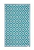 FH Home Alfombra/Alfombra de plástico Reciclado para Interiores/Exteriores - Reversible - Resistente al Clima y a los Rayos UV - Aztec - Teal/White (150 cm x 240 cm)