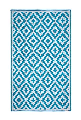 FH Home Alfombra/Alfombra de plástico Reciclado para Interiores/Exteriores - Reversible - Resistente al Clima y a los Rayos UV - Aztec - Teal/White (90 cm x 150 cm)