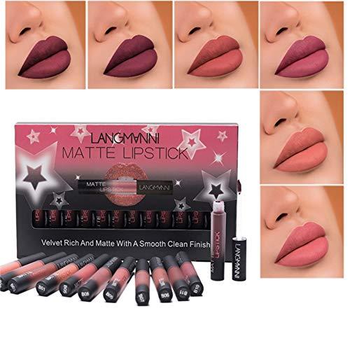 Ardorlove Matte Lipstick set, mat, 12 kleuren, waterbestendig, langhoudend, lippenstift, zonder stickers, lippenstift, set van 12 kleuren