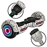Rawrr Hoverboard Self Balancing Electric Scooter with LED Wheel Lights and Bluetooth Speakers for Kids and Adults, UL2272 Certified, Unique White Pattern