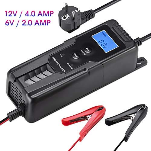 LOHOTEK 6V/12V 4A Cargador/Mantenedor de Batería con Cargador de Cepo de Cable para Batería de Ácido de Plomo Sellado Cortadoras de Césped de Barco de Coche