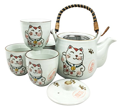 Learn More About Japanese Design Maneki Neko Lucky Cat Black Ceramic Tea Pot and Cups Set Serves 4 B...
