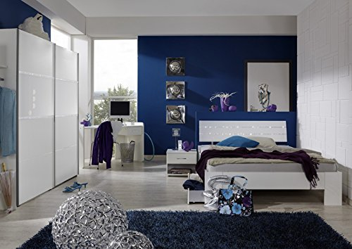 Komplett Jugendzimmer weiß Strasskristall Kinderzimmer Bett Schrank Schreibtisch