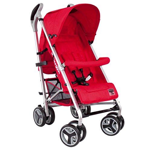 Zekiwa moderner Sportwagen, ALU CHAMPION, formschönes ALU-Gestell, vorn sind die Räder um 360° drehbar, Ausstattung inklusive Verdeck und weich abnehmbarem Schutzbügel, Dessin: Red