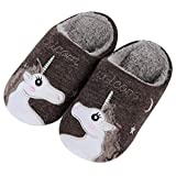 Cute Unicorn House Slippers for Women Animal Indoor Slippers Waterproof Sole Fuzzy Home Slippers, Brown Unicorn, 5-6 Women/4-5 Men