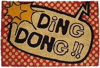 koko doormats felpudos Entrada casa Originales, Fibra de Coco y PVC, Felpudo Exterior Ding Dong!!, 40x60x1.5 cm   Alfombra...