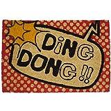 koko doormats felpudos Entrada casa Originales, Fibra de Coco y PVC, Felpudo Exterior Ding Dong!!, 40x60x1.5 cm | Alfombra Puerta Entrada casa Exterior | Felpudos Divertidos para Puerta