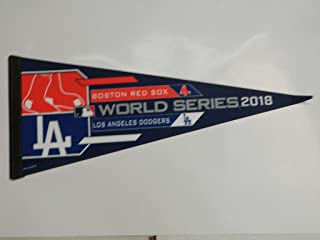 2018 BOSTON RED SOX VS LOS ANGELES DODGERS WORLD SERIES PENNANT FULL SIZE 30 X 14