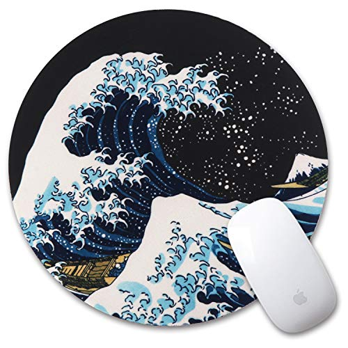iLeadon Gaming Mouse Pad, Anti Slip Natural Rubber Mouse Mat for Desktops, Computer, PC and Laptops, Customized Round Mousepad for Working Or Game, Sea Wave