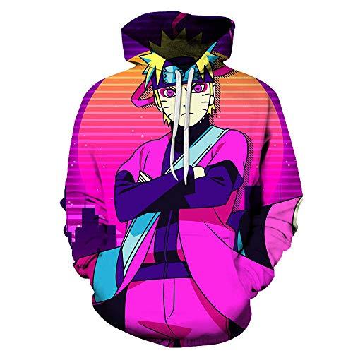 Sudaderas con Capucha,Anime Ninja Unisex Jersey Suelto Sudadera Adolescente Chaqueta Manga Larga Abrigo Rojo M
