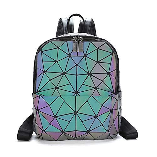 Orita Geometric Backpack Luminous Holographic Backpacks Lattice Design Backpack Travel Shoulder Bag