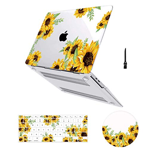 MacBook Air 13 inch Case Floral, Arike Sunflower Matte See Through Clear Hard Case with Keyboard Cover & Mouse Pad Compatible for MacBook Air 13' Old Version 2010-2017 (A1466 &A1369)