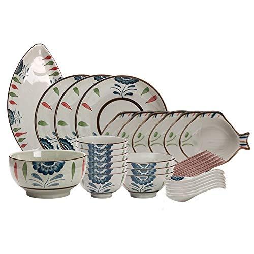 RKY Bol- Vaisselle en céramique japonaise ménage grande assiette plat bol de riz bol à soupe bol de sauce plat famille mis style 2 styles en option /-/ (Couleur : 32 sets)