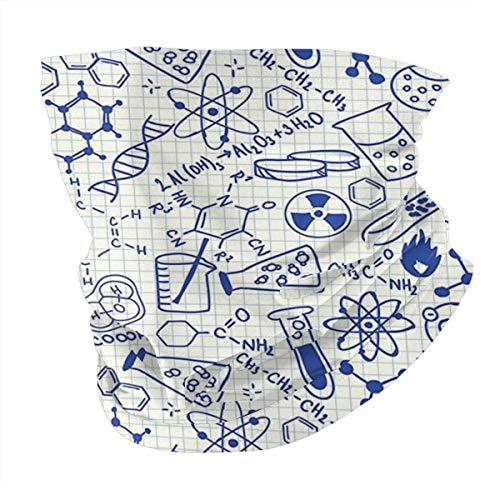 Q&SZ Sweatshirt Outdoor Headband Kids Decor Science Chemistry Geometry Math Nerd Geek Genius Themed Design Artwork Royal Blue Teal Scarf Neck Gaiter Face Bandana Scarf Head Scarf