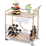 XCSOURCE Bar Carts for Home,Kitchen Serving Cart with 2 Storage Shelves, Metal Wood Wine Cart with Glass and Bottle Holders, Universal Wheel, for Kitchen, Living Room, Club, Gold