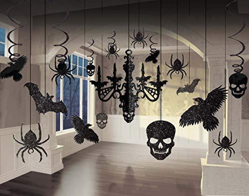 Amscan 248678-55 - Deko-Set Glitzer-Kronleuchter, 17-teilig, aus Papier und Folie, 9,1 bis 60,9 cm, Halloween, Horror-Party, Mottoparty