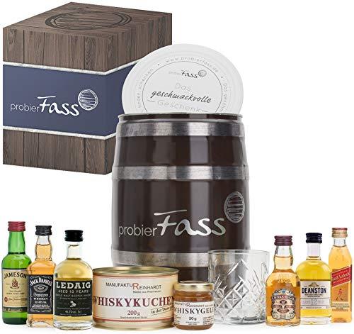 Geburtstagsgeschenk für Männer | 6 beliebte Whisky Klassiker (6 x 0.05 l) - 1 Whiskyglas - 1 Whiskykuchen - 1 Whiskygelee in einem originellen Fass mit Geschenkverpackung