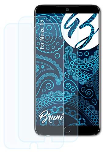 Bruni Schutzfolie kompatibel mit Meizu 15 Folie, glasklare Bildschirmschutzfolie (2X)