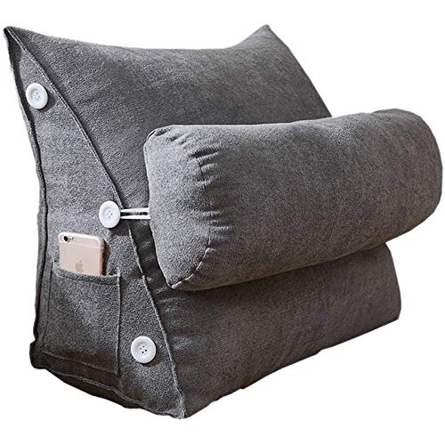 Aurario Wedge Reading Pillow, Adjustable Triangle Flex Cushion with Headrest, Washable Velvet Nordic Simple Back Support, Zipper Removable Soft Throw Pillows