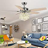 Palarlight Modern 52 inch Crystal Ceiling Fan Remote Control for Indoor Quiet Energy Saving Electric Fan/Decoration