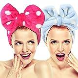 2cintas elásticas Hairizone para el pelo con lazo, para lavarse la cara; Bonita cinta con textura de toalla para el pelo, maquillaje, ducha, spa, masaje y deportes