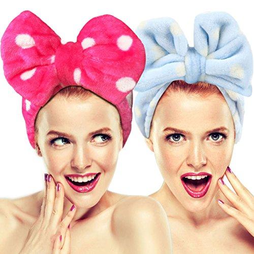 Hairizone süßes Stirnband, Stretch-Material, Schleife, zum Waschen des Gesichts, niedliches Handtuch, Haarband für Make-up, Dusche, Spa, Massage und Sport, 2 Stück