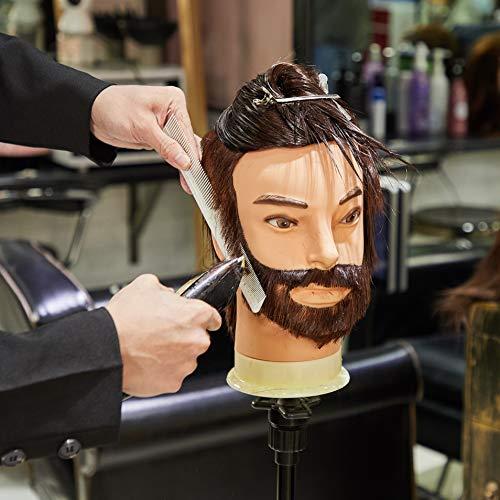 Cabeza de maniquí, Neverland Beauty 100% fibra sintética pelo masculino cabeza de peluquería con barba (12 pulgadas)