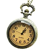 B Baosity Steampunk Hunter Flor De Cuarzo Grabado Fob Colgante Reloj De Bolsillo Cadena Regalo