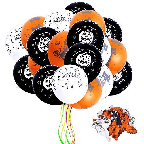 Faburo Halloween Globos, 50 Piezas Globos de Látex con para la Decoración de Fiestas de Halloween-Negro,Blanco y Naranja